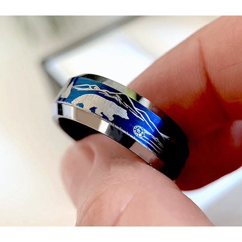 Bears and Elks in Forest Pattern Engraved Blue Brushed Ring 8mm