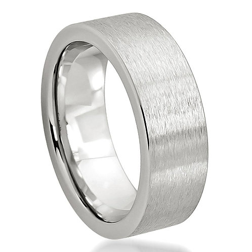 Cobalt  Wedding Band Flat Brushed Pipe Cut 8mm