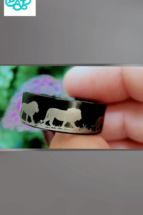 Lions, Tungsten Ring, Wedding Bands, Mens Tungsten Wedding Bands, Black Tungsten Ring, Custom Made  Rings by Rings Paradise