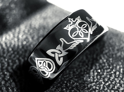 Hands Holdin Heart, Celtic Ring, Tungsten Wedding Bands, Tungsten Ring, His and Her Promise Ring, Women Wedding Band,  Ring