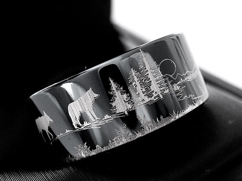 Hedgehog, Hare, Fox and Wolf in Forest Pattern Engraved Black Tungsten Ring