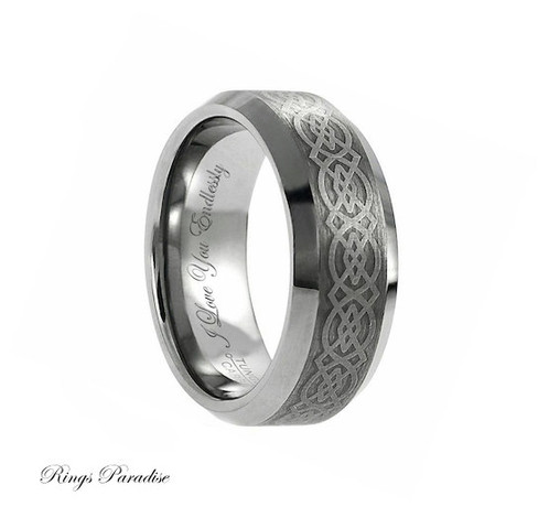 Celtic Weddings Tungsten Ring Wedding Band Engagement Promise Mens Rings