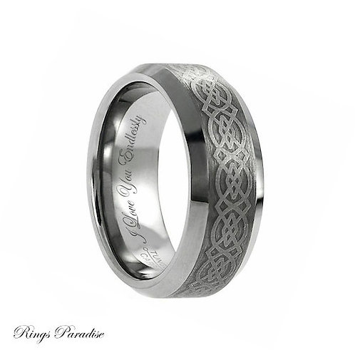 Tungsten Wedding Bands, Celtic Knot Ring, Irish Ring,  Promise Ring