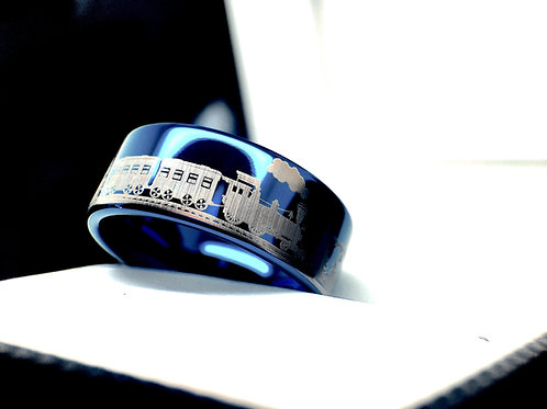 blue tungsten carbide wedding bands, engagement rings, groom and bride ring, custom engraved ring, personalized rings, groom