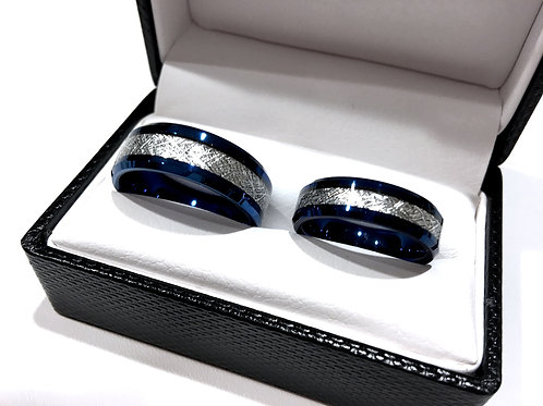 Blue Meteorite Inlay Tungsten Carbide Rings, Matching Rings Sets, Couples Rings, Mens and Women Wedding Bands, Anniversary