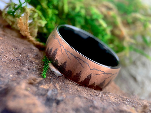 Black tungsten ring, rose gold, wedding bands, wedding rings, promise rings, anniversary gift, fir trees ring, mountains ring