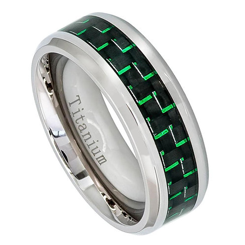 Titanium Ring with Green Carbon Fiber Inlay 8 mm