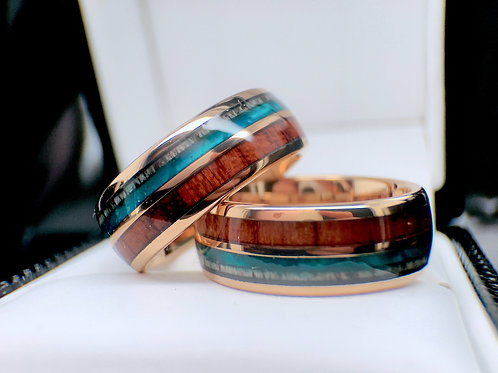 Antler Wood and Green Agate Rose Gold Tungsten Carbide Matching Rings Set 8mm