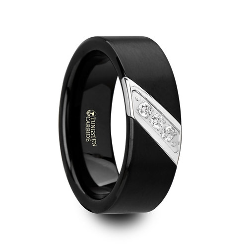 Black Tungsten Carbide Wedding Band -8mm