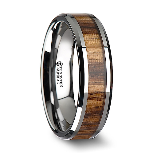 Tungsten Band, Real Zebra Wood Inlay 6mm-8mm