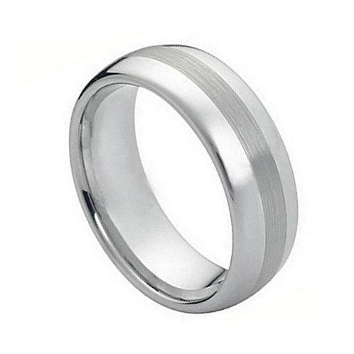 Cobalt Ring Polished Shiny with Brushed Center 8mm