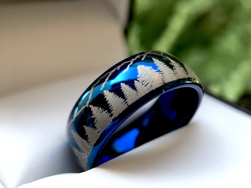 Blue Wedding Bands, Fir Trees in Mountains Forest landscape, Mens and Women Ring, Tungsten Forest Engraved Ring, His and Her