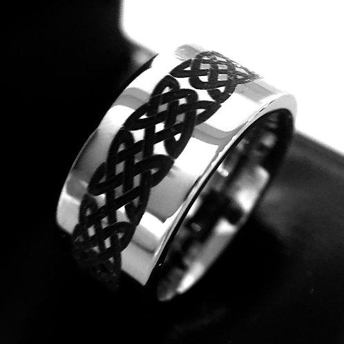 Celtic Design Pattern Engraved Tungsten Ring, Mens Ring, Wedding Band