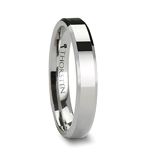 White Tungsten Carbide Ring with Beveled Edges