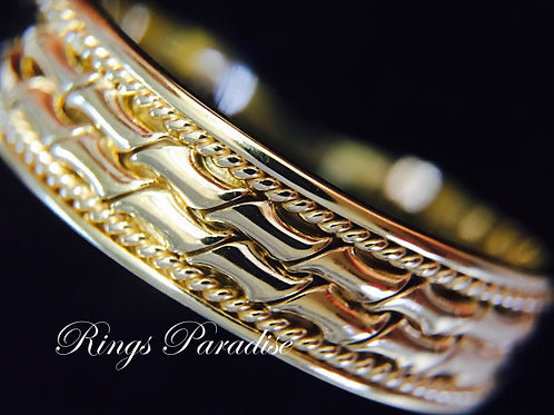 Mens Celtic Ring, 14k Gold, Celtic Wedding Band