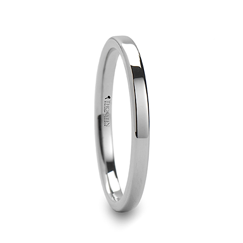 Pipe Cut Style White Tungsten Carbide Ring 2mm