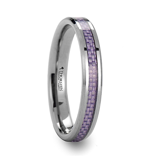 Beveled Tungsten Carbide Ring Purple Carbon Inlay