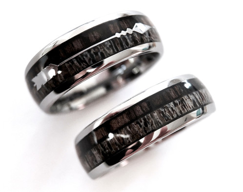 Antler Rings Real Antler Wedding Band Arrow Tungsten Wedding Bands