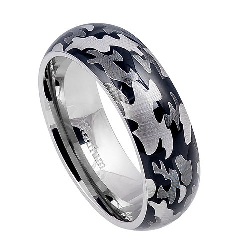 Titanium Ring Domed Military Army Gray Camouflage