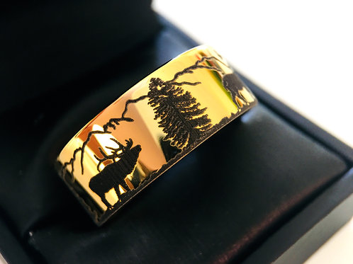 Wedding Bands, Yello Gold Tungsten, Antler Ring, Mountains Forest landscape