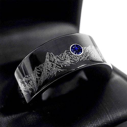 Mountains Range Engraved Black Tungsten Ring, Sapphire Stone, Mens Wedding Ring