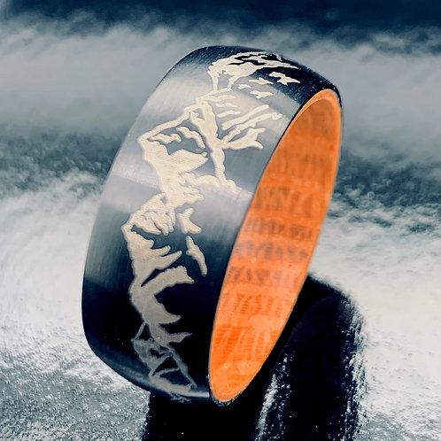 Mountains Range Engraved Black Tungsten Carbide Ring Whiskey Barrel Wood 9mm