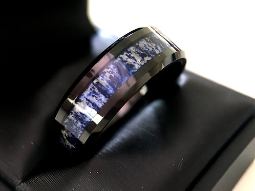 Mens Tungsten Carbide Ring, Blue Antler Inlay Black Tungsten Ring, Unique Mens Rings, One of a King Wedding Bands, Mens Ring