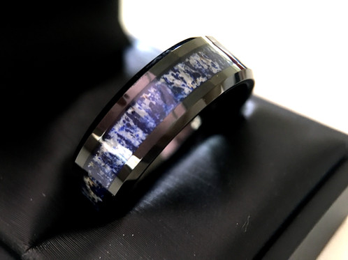 mens tungsten carbide ring blue antler inlay black tungsten ring
