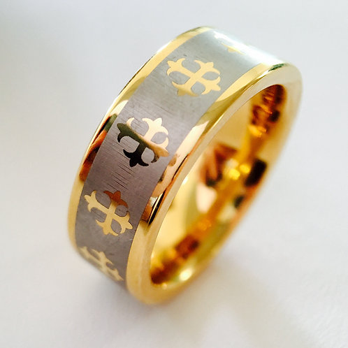 Yellow Gold Tungsten Wedding Band, Crosses Design Engraved Ring, Wedding Ring