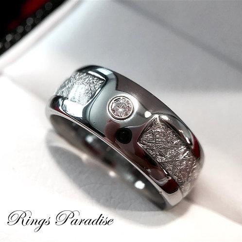 Meteorite Inlay Tungsten Wedding Band with White Diamond Stone Setting
