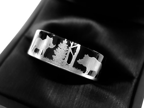 Pigs in Forest Pattern Engraved Black Tungsten Wedding Band, Mens Tungsten Ring