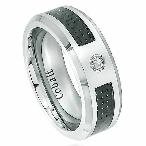 Cobalt Ring, White Diamond, Black Carbon Fiber 8mm