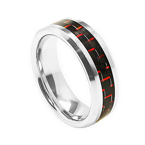 Cobalt Ring with Red Carbon Fiber Inlay  8mm