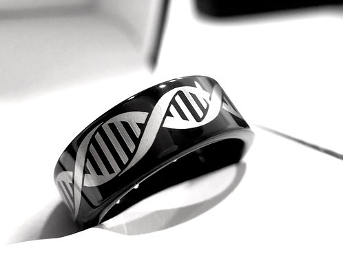 Human DNA Molecule Pattern Engraved Black Tungsten Ring, Wedding Bands