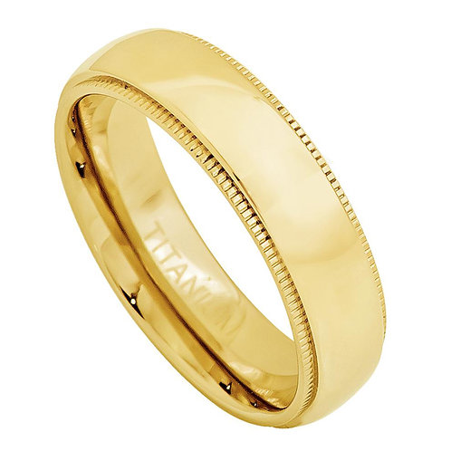 Yellow Gold Plated Domed Titanium Ring Milgrain