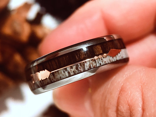 Wood and Deer Antler Ring, Tungsten Carbide Ring with Rose Gold Arrow Inlay 8mm