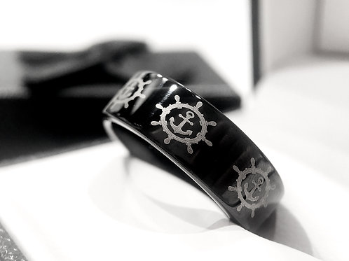 Navigation Wheel With Anchor Pattern Engraved Black Tungsten Ring, Wedding Band