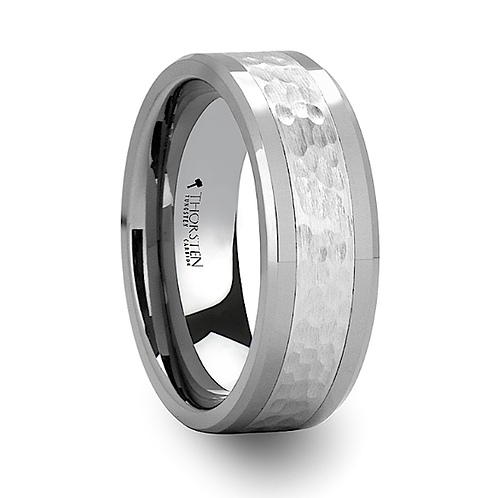 Hammered Finished Center Tungsten Carbide Ring 8mm