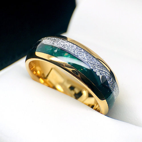 Yellow Gold Tungsten Green Agate Meteorite inlay Ring, Mens Ring, Women