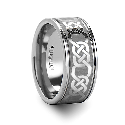 Celtic Laser Engraved Tungsten Carbide Ring- 10mm