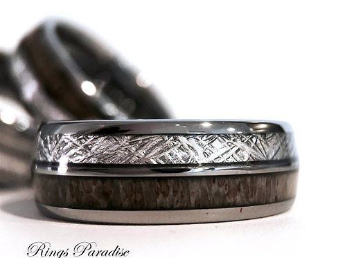 Matching Wedding Bands, Meteorite Inlaid Tungsten Ring, Antler Engagement Rings