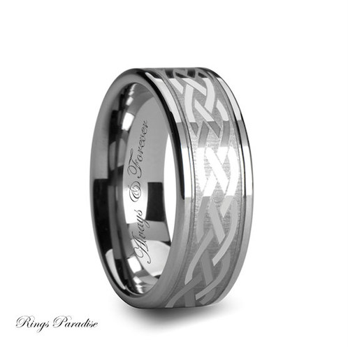 Tungsten Wedding Band Celtic His And Her Promise Ring Anniversary Rings Gift High Quality In