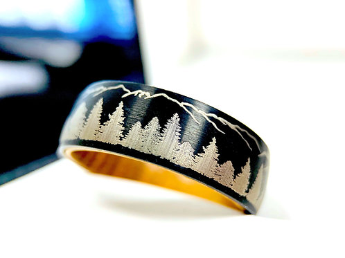 Whiskey Barrel Wood Black Tungsten Wedding Band, Fir Trees in Mountains Forest landscape, Custom Engraved Rings, Mens Ring