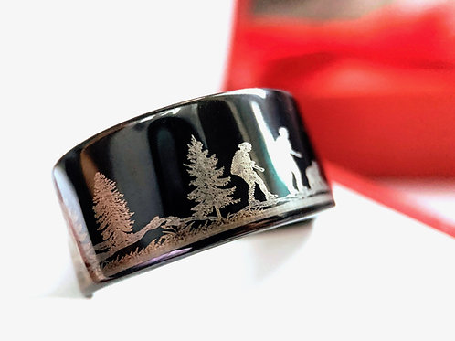 Hiking in Mountains Forest Pattern Engraved Tungsten Ring, His and Her