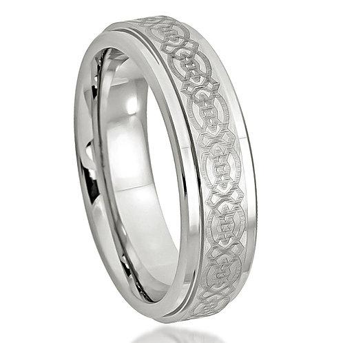 Cobalt Ring,  Laser Engraved Celtic Design  6mm