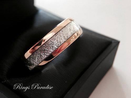 Rose Gold Meteorite Ring, Meteorite Tungsten Ring, Wedding Band,  Engagement Ring