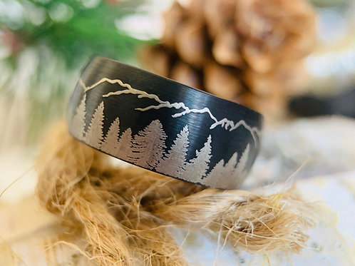 Whiskey Barrel Ring, Wood Inlay Ring, Male ring, wedding Bands, Mens Tungsten Ring, Tungsten Wedding Bands, Engagement Ring,
