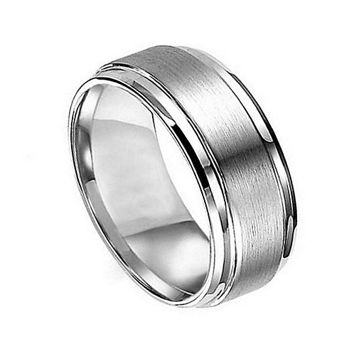 Titanium Ring Flat Brushed Center 8mm
