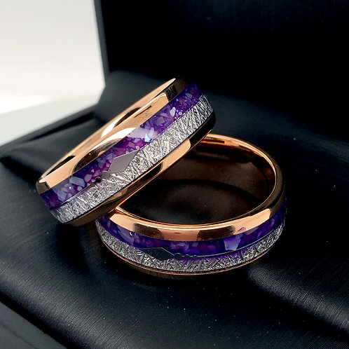 purple ring, wedding bands, tungsten carbide, engagement, anniversary, promise his and hers,