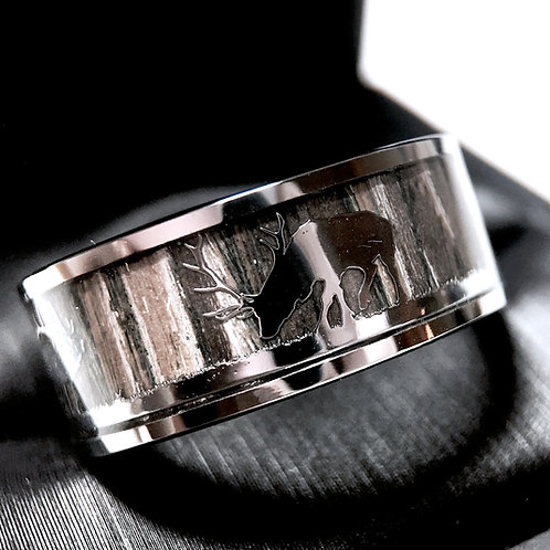 Mens Engagement Ring, Elks in Forest Landscape, Mens Ring, Tungsten Wedding Band